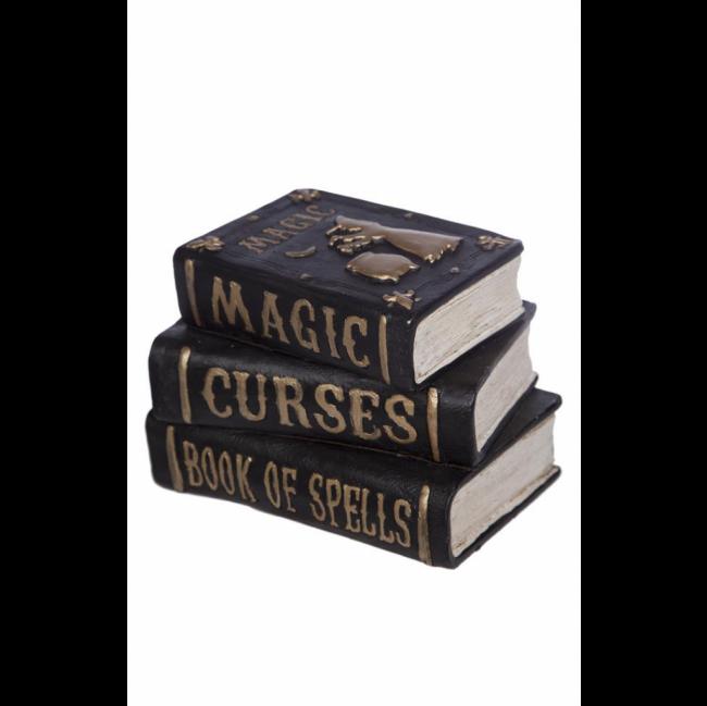 CONJUNTO LIVROS MAGIC | CURSES | BOOK RESINA PRETO E DOURADO (C 16 CM | L 11 CM | A 13 CM)