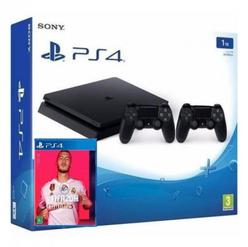 KIT - PLAYSTATION 4 COM DUAS MANETES + FIFA 20