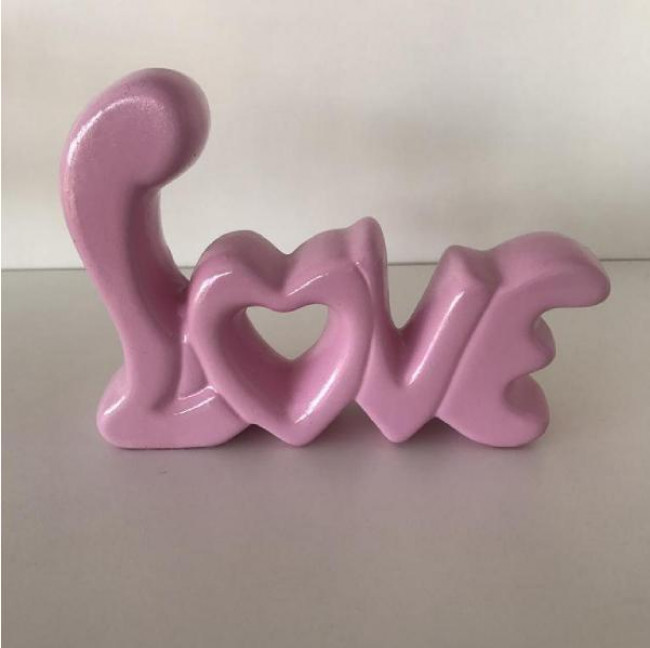 Love Decorativo em Cerâmica - Rosa Claro