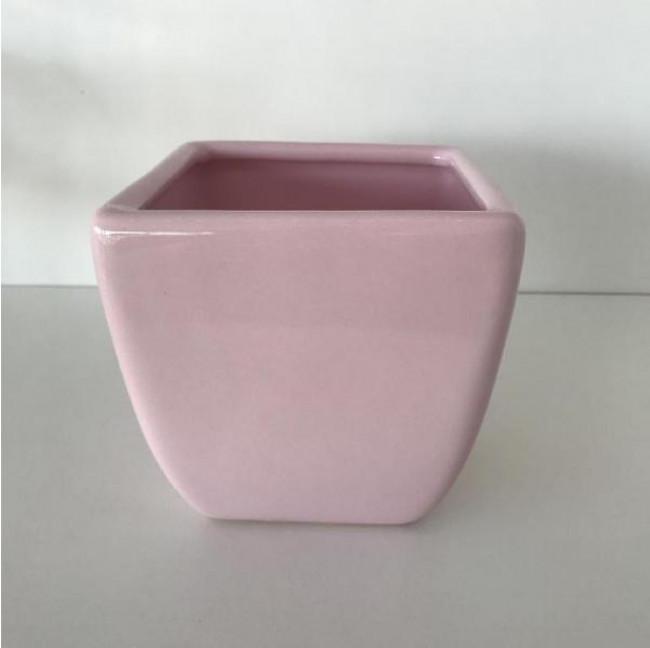 Vasinho Quadrado Cerâmica - RosaBebê